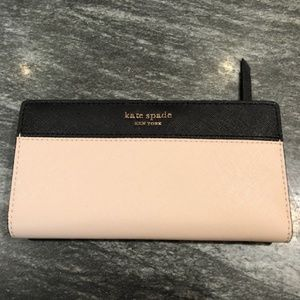 Kate Spade Black and Beige Leather Wallet-NWT